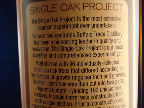 Buffalo Trace Single Oak 175 rear label 2