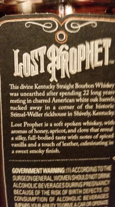 Orphan barrel distilling co lost prophet 22 year old for Coopers craft bourbon review